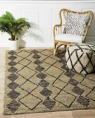 TRADITIONAL Kenya Kasa Hand Woven Tribal Jute Floor Rug