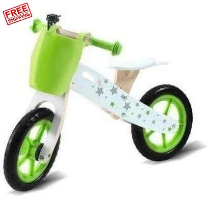 Bopeep Kids Wooden Balance Bike White Green