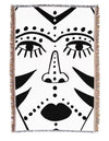 African Mask Line Drawing Blanket Throw