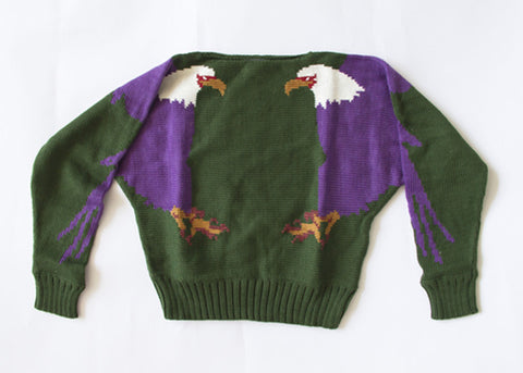 Hunter Green & Eggplant Purple Eagle Sweater