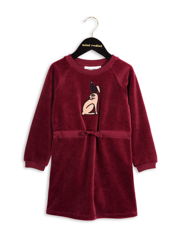 Mini Rodini RABBIT Velour Dress in Burgundy