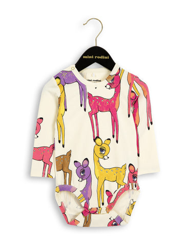 Mini Rodini Roe Deer Longsleeve Body in Pink