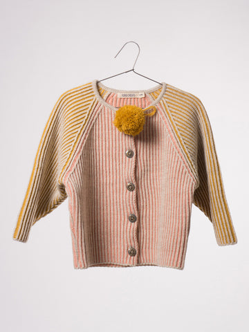 Bobo Choses Bicolour Knitted Cardigan in Pink