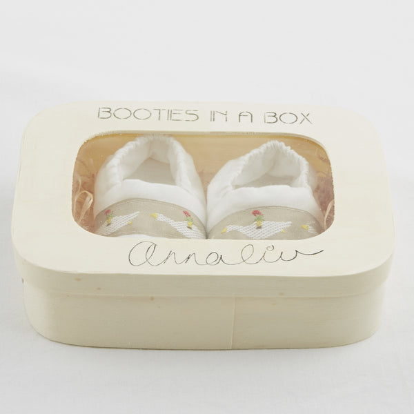 Booties in a Box in White by Annaliv