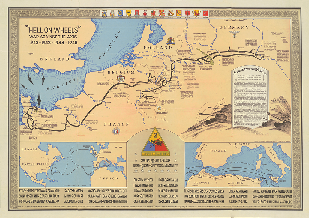 2nd Armored Division Campaign Map 1945 Version by HistoryShots InfoArt