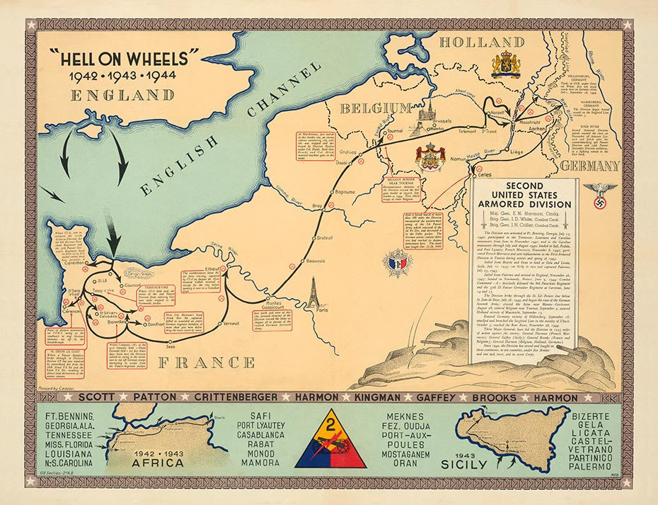 Map Of France During Ww2.2nd Armored Division Campaign Map Historyshots Infoart
