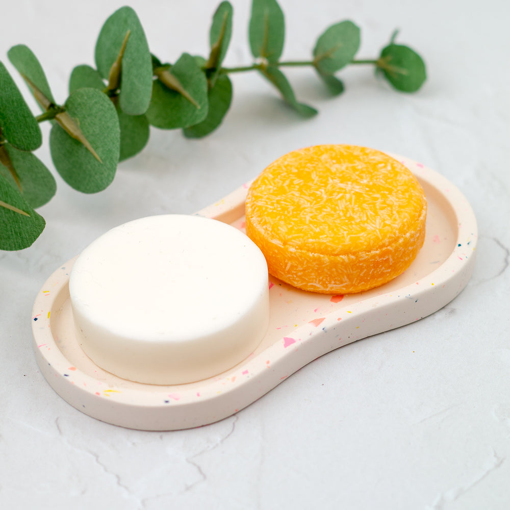 Terrazzo Style Soap Dish for Shampoo Bar and Conditioner Bar