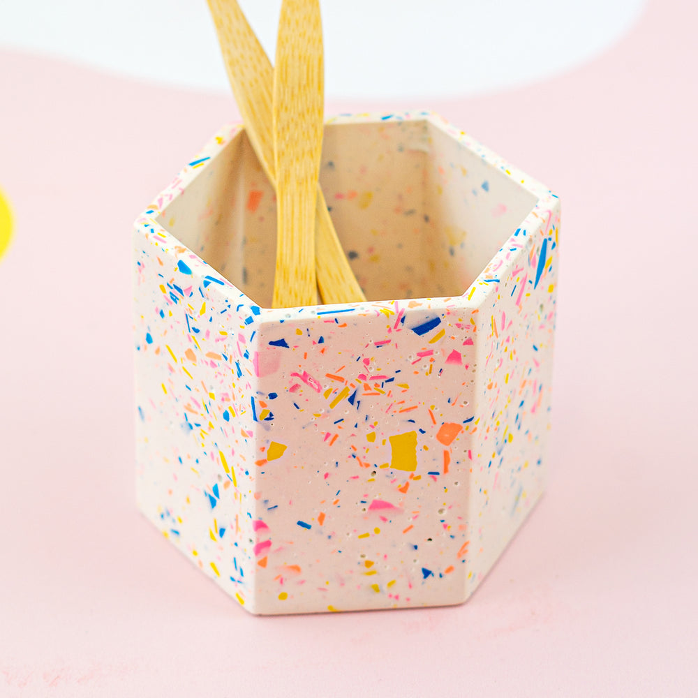 Terrazzo Style Hexagon Toothbrush Holder