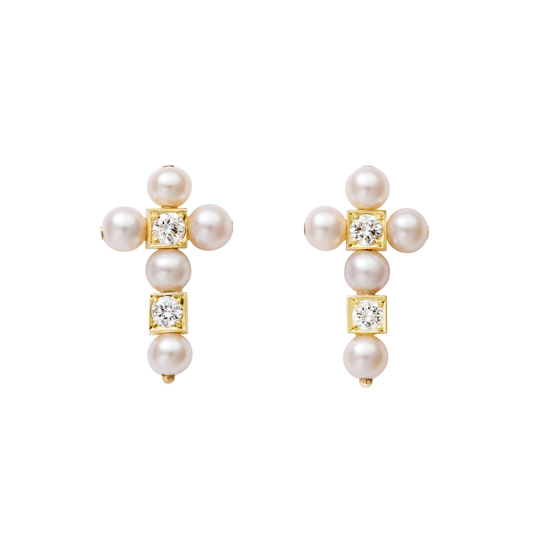 Boucles d'oreilles AA Or jaune, perles de culture et Diamants