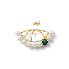 Mono boucle d'oreille Constellation Or jaune, Perles, Malachite et Diamant
