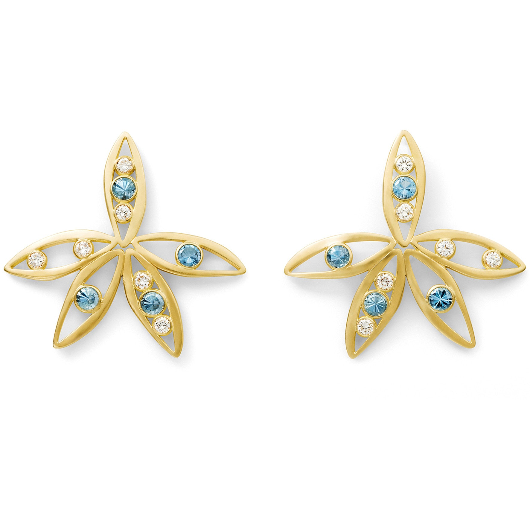 Boucles d'oreilles Bel Aloha Or jaune, Aigues-marines et Diamants