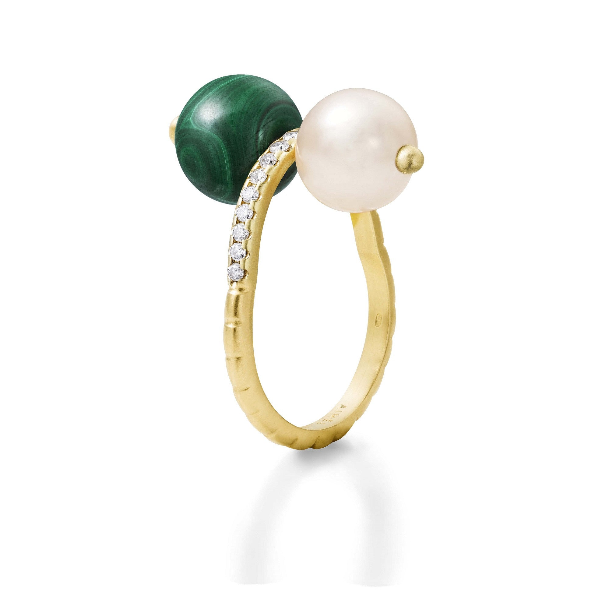 Bague Chance Or jaune, Perle, Malachite et Diamants