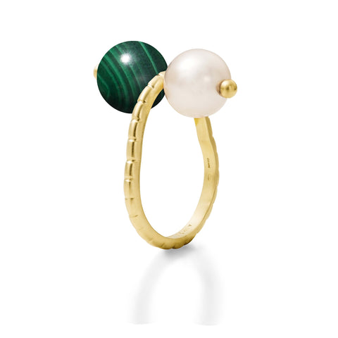 Bague Chance Or jaune, Perle et Malachite