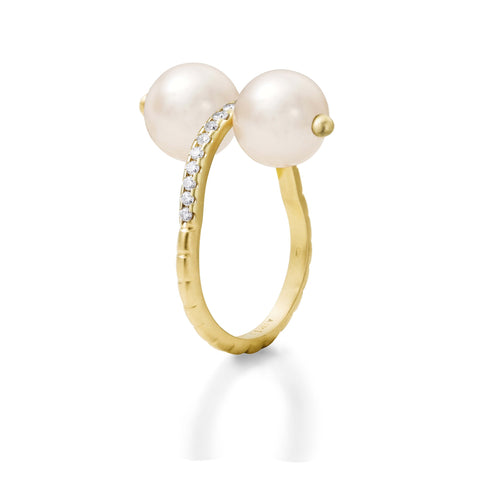 Bague Chance Or jaune, Perles et Diamants