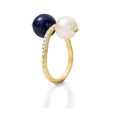 Bague Chance Or jaune, Perle, Lapis Lazuli et Diamants