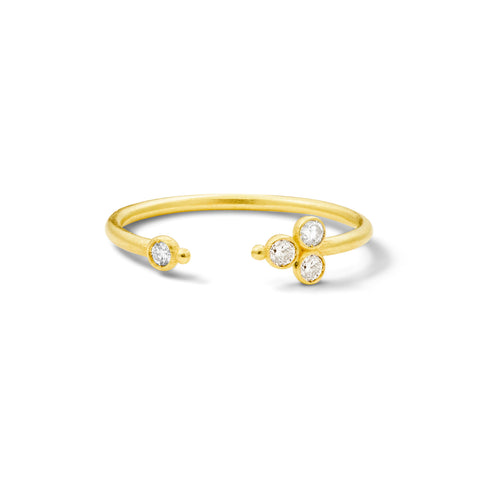 Bague Open Delta Or jaune et Diamants