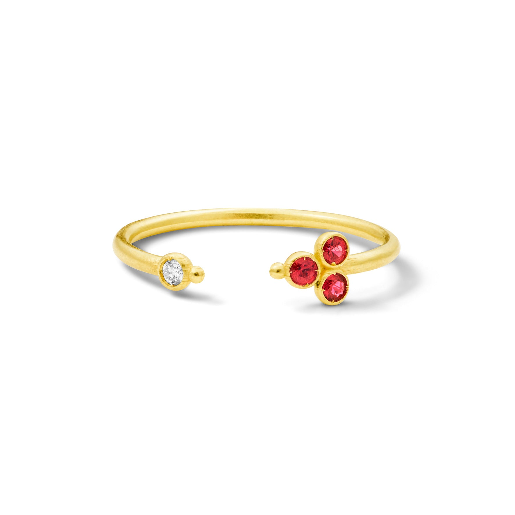 Bague Open Delta Or jaune, Rubis et Diamant