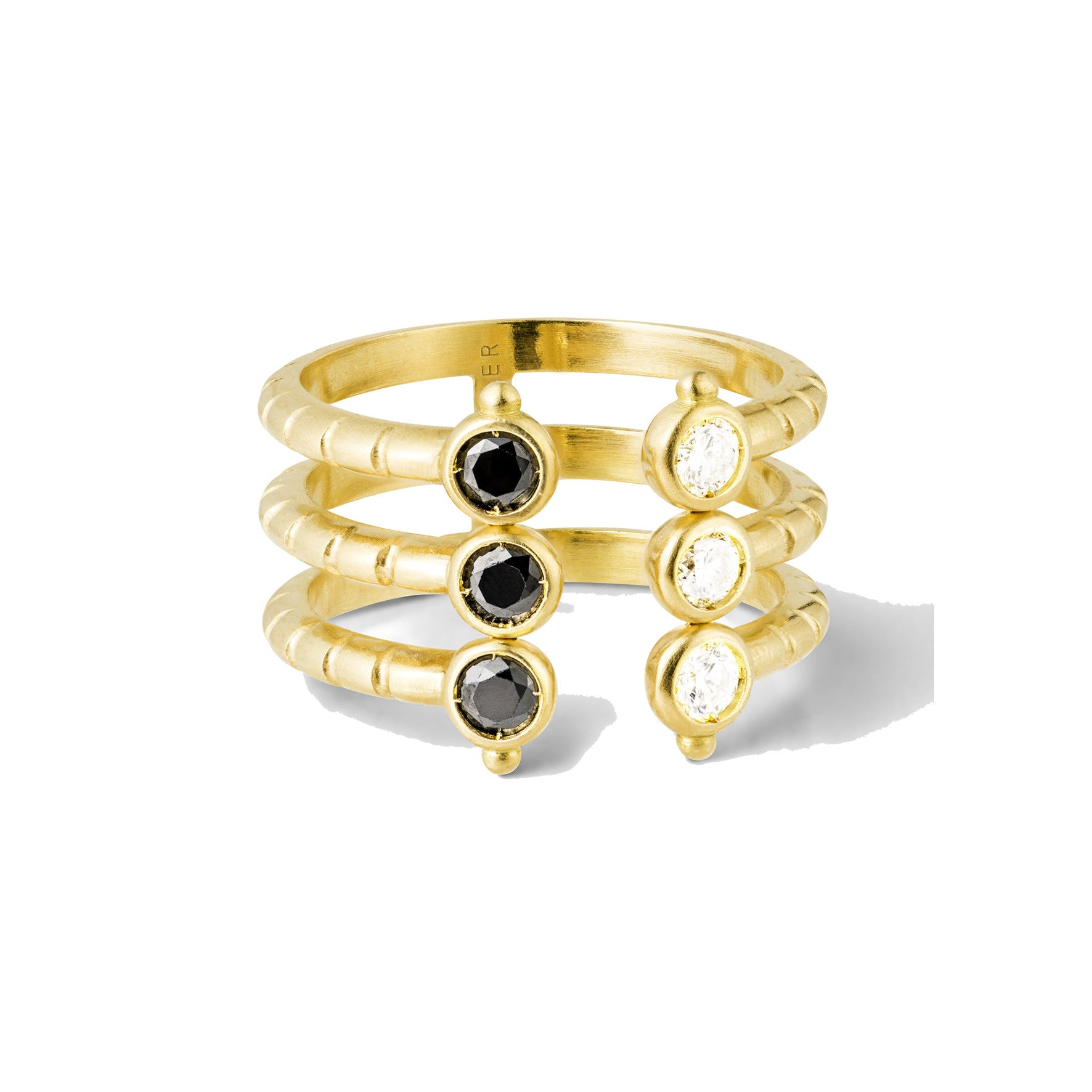 Bague Folles Iguazu triple Or jaune, Diamants et Spinelles noirs
