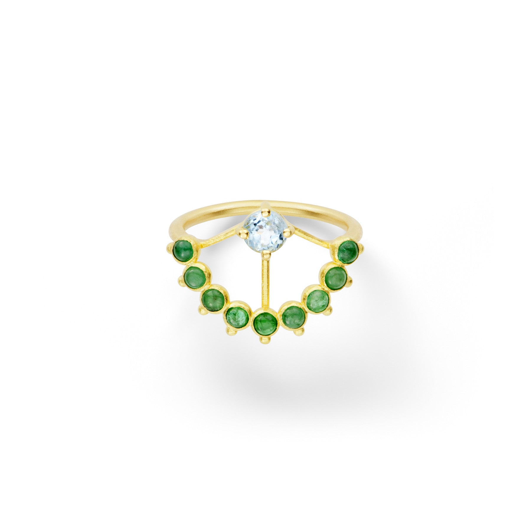 Bague Beija-Flor Or jaune, Aigue-marine et Emeraudes