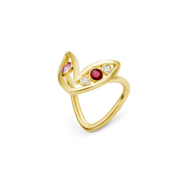 Bague Bel Aloha Or jaune, Saphir rose, Rubis et Diamants