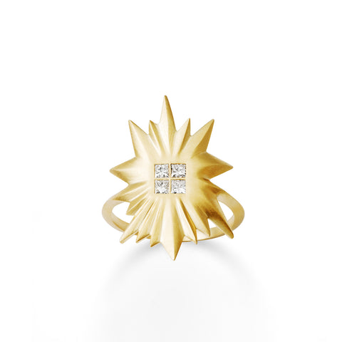 Bague Soleil Or jaune et Diamants