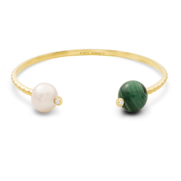 Bracelet Chance Or jaune, Perle, Malachite et Diamants