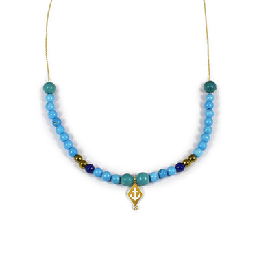 Collier Aloha Ancre Or jaune, Diamant, perles de Turquoise
