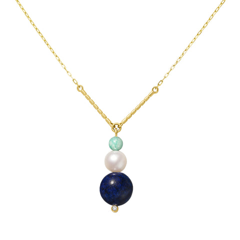 Collier Chance Or jaune, Perle, Amazonite, Lapis Lazuli et Diamant