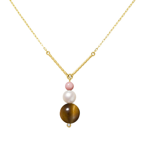 Collier Chance Or jaune, Perle, Opale rose, Oeil de tigre et Diamant