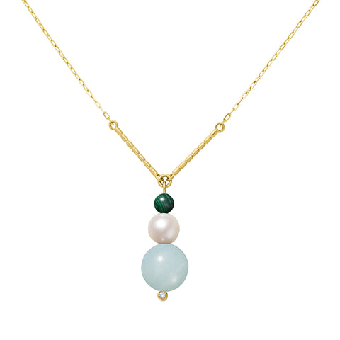 Collier Chance Or jaune, Perle, Malachite, Amazonite et Diamant