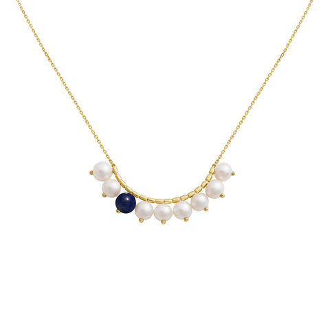 Collier Constellation. Or jaune, Perles et Lapis Lazuli