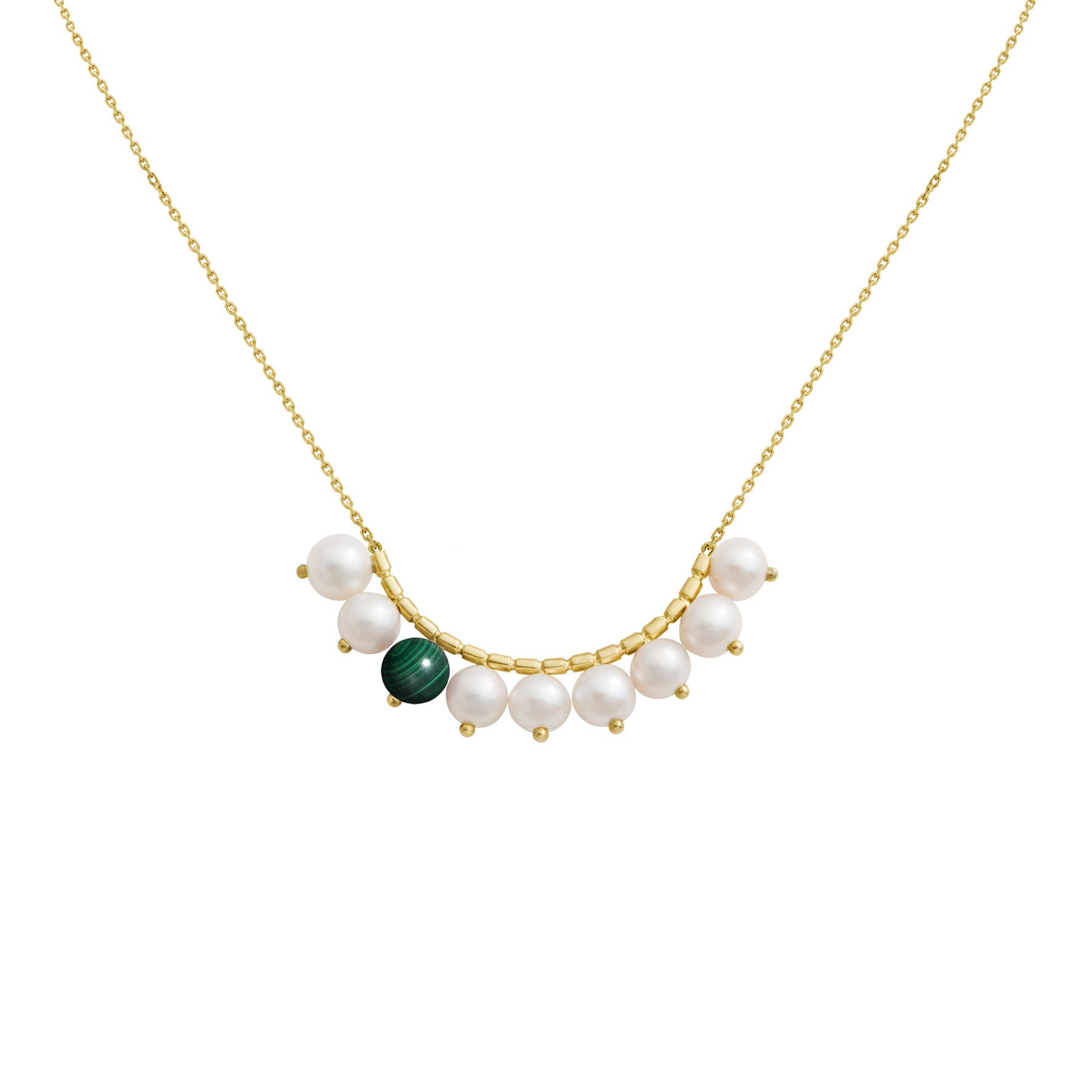 Collier Constellation Or jaune, Perles et Malachite