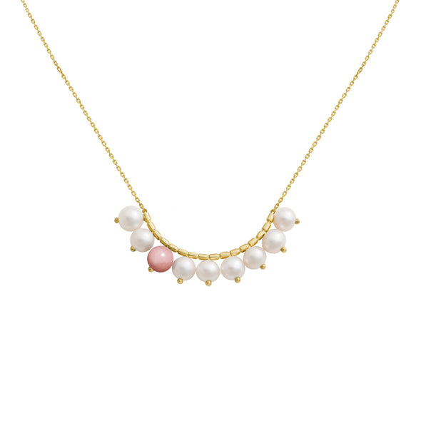 Collier Constellation Or jaune, Perles et Opale rose