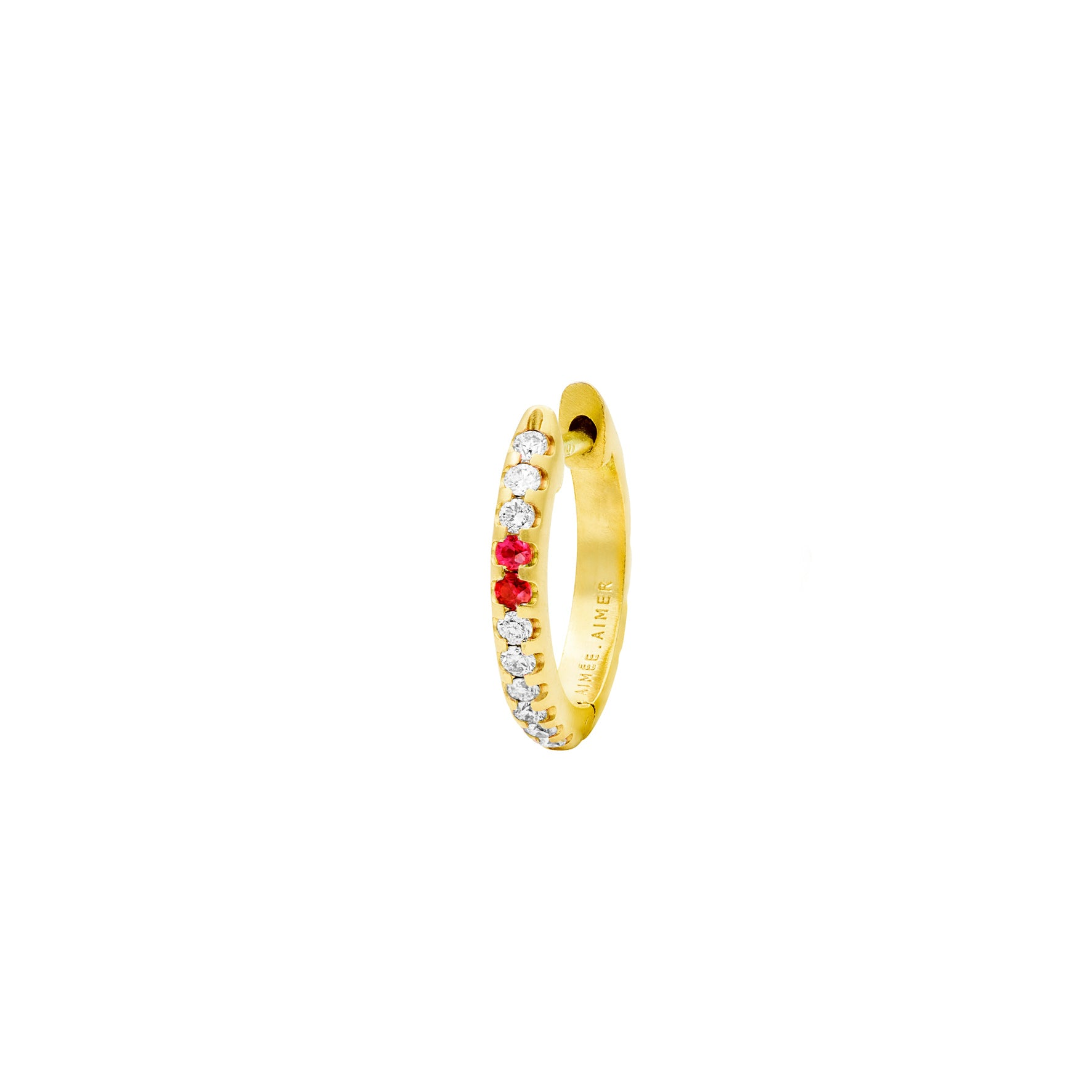 Créole Spicy Or jaune Diamants et Rubis