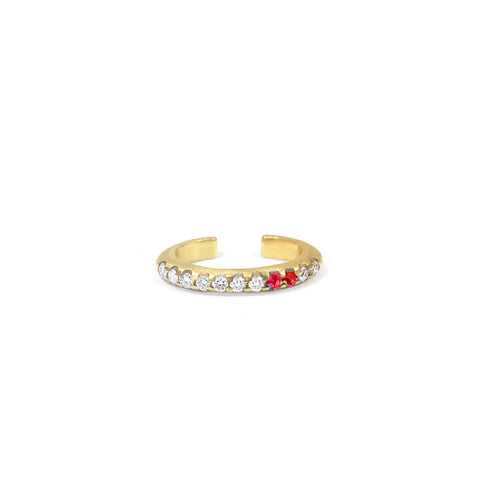 Bague d'oreille Spicy Or jaune, Rubis et Diamants