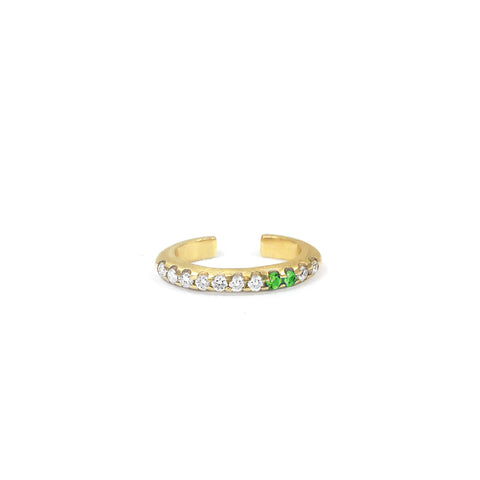 Bague d'oreille Spicy Or jaune, Tsavorites et Diamants
