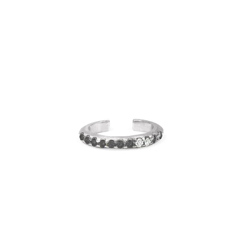 Bague d'oreille Spicy Or blanc, Spinelles noirs et Diamants
