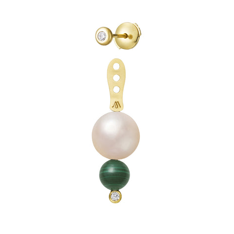 Dessous d'oreille Chance Or jaune, Perle, Malachite et Diamant