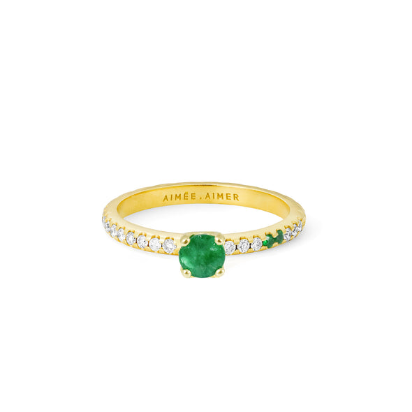 Bague Spicy Love Or jaune Émeraude et Diamants