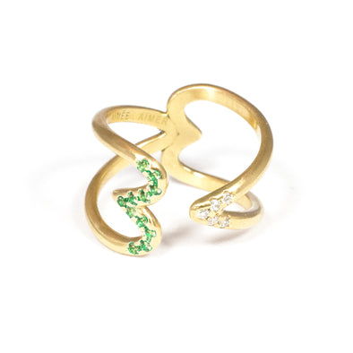 Bague Crush  Or jaune, Tsavorites et Diamants