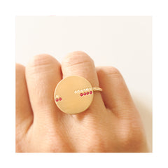 Bague Horizon Or jaune Rubis et Diamants