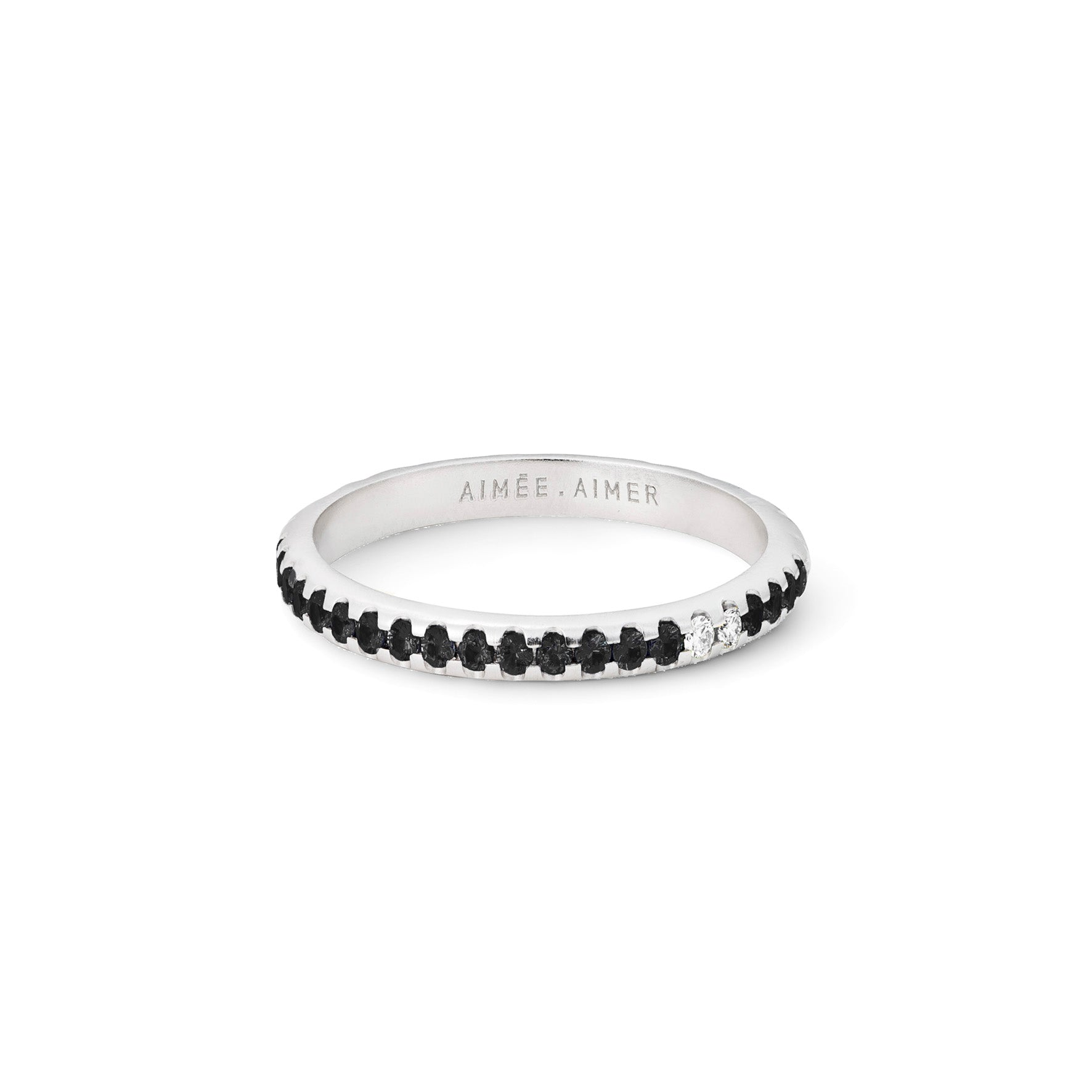 Bague Spicy Or blanc, Spinelles noirs et Diamants