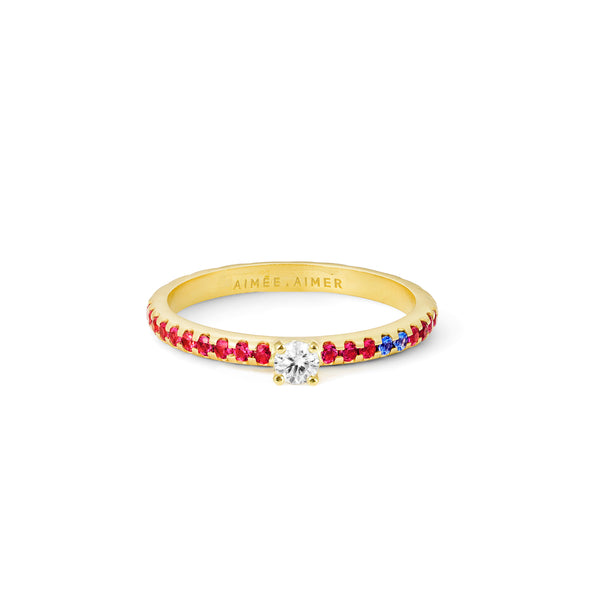 Bague Spicy Love Or jaune Diamant, Rubis et Saphirs
