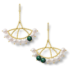 Boucles d'oreilles Constellation Or jaune, Perles, Malachite et Diamants