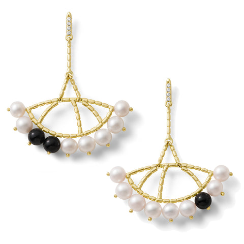Boucles d'oreilles Constellation Or jaune, Perles, Onyx et Diamants