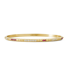 Bracelet Lignes F. Or jaune, Rubis et Diamants
