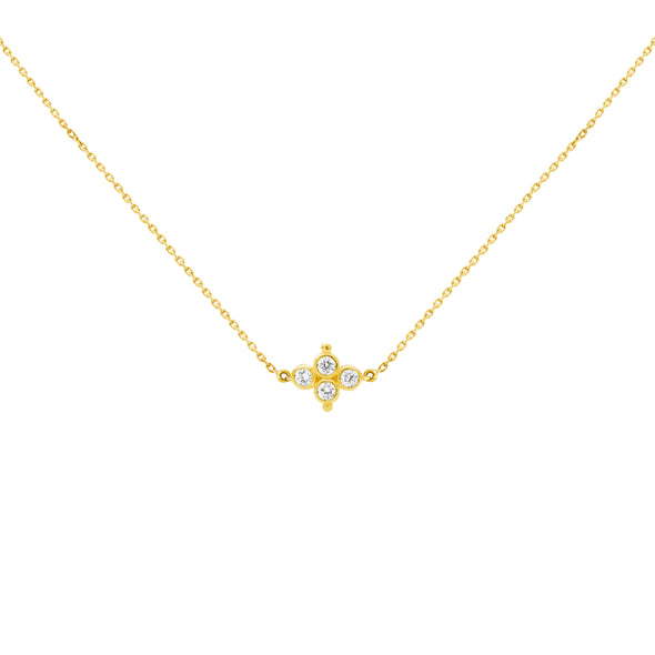Collier Delta Or jaune et Diamants