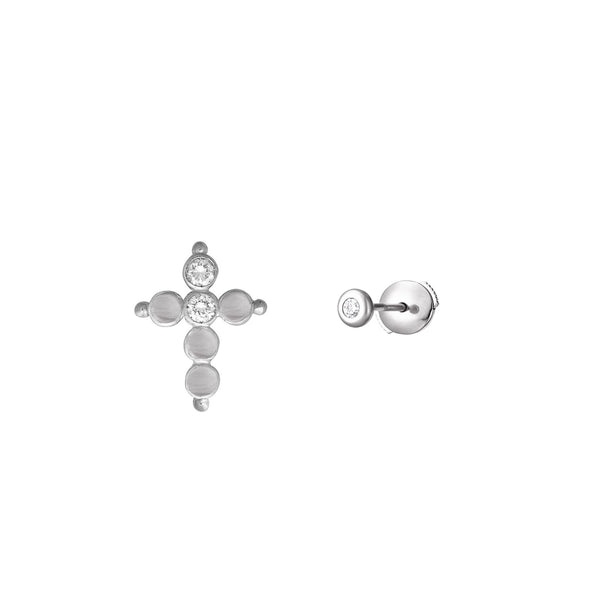 Puce d'oreille Petit AA Or blanc et Diamants