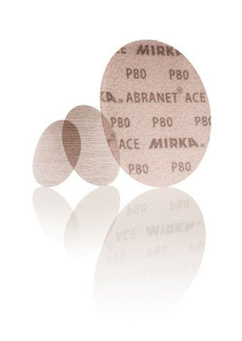 Mirka Abranet ACE discs. Ideal for orbital sanders or hand sanding. Abranet ACE is tougher but allows dust to be extracted through the mesh to reduce clogging and increase efficiency.