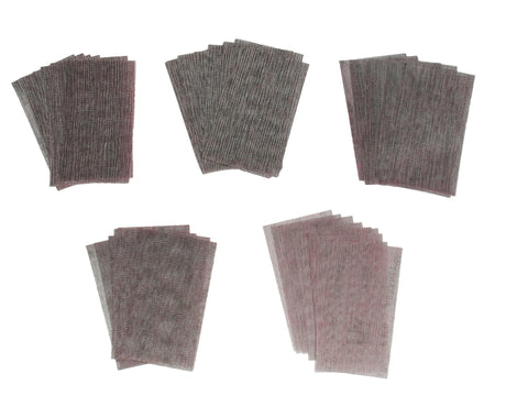 Five sets of 10 Abranet sanding strips of different grit sizes from P120 to P500. Ideal sanding kit to start with.